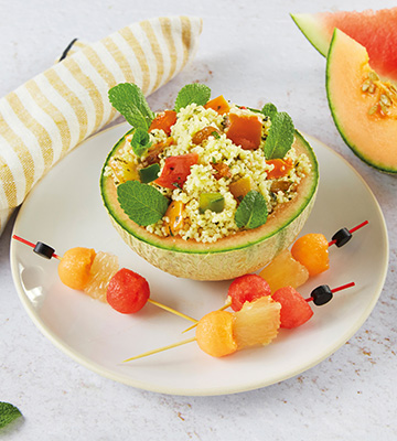 Taboulé oriental rafraichi, melon, pastèque, pamplemousse et menthe